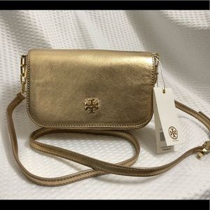 5dc9339787ed Tory Burch Bags - NWT Tory Burch Caitlin Mini Gold Leather Crossbody